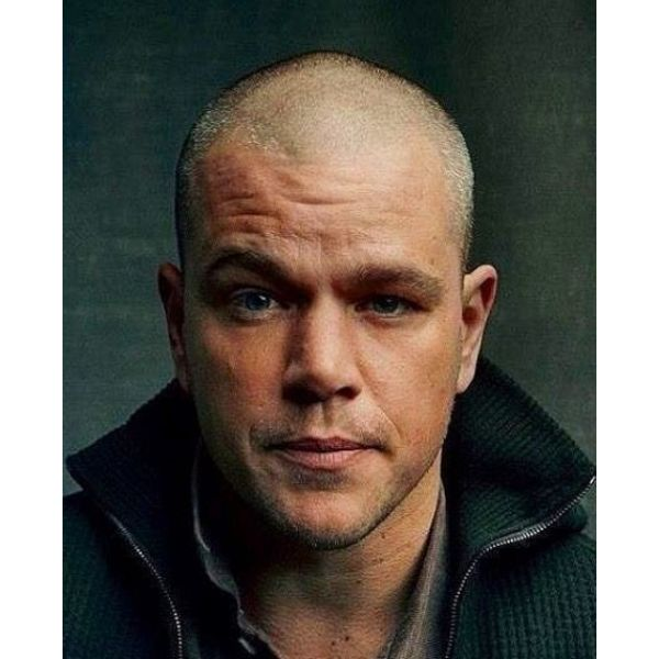 Matt Damon's Sharp Skin Fade Hairstyle for Balding Men