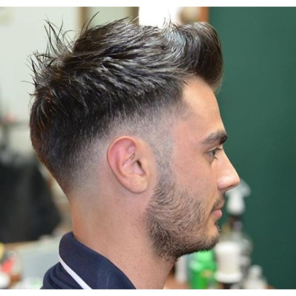 Messy Taper Fade with Spiky Top