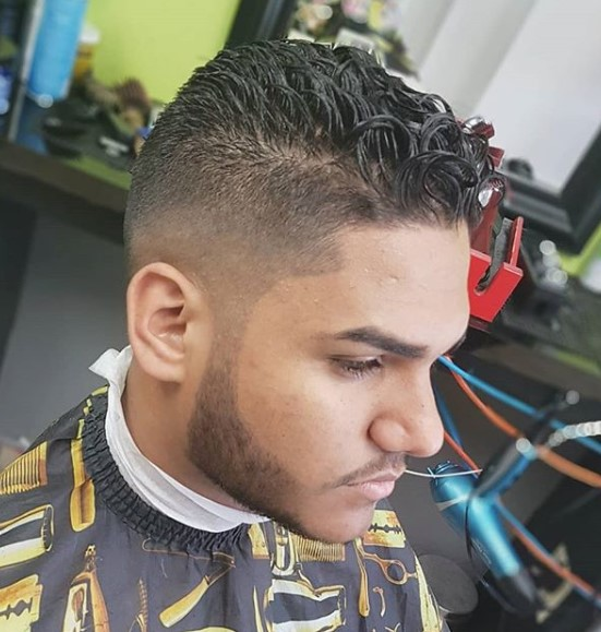 Mid Fade with Curly Wet Top