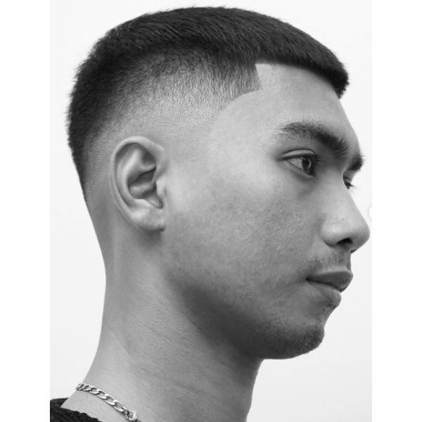 Mid Fade with Short Crop Top Hairstyles for Asian Men