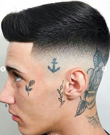 Mid Fade with Side Swept Top