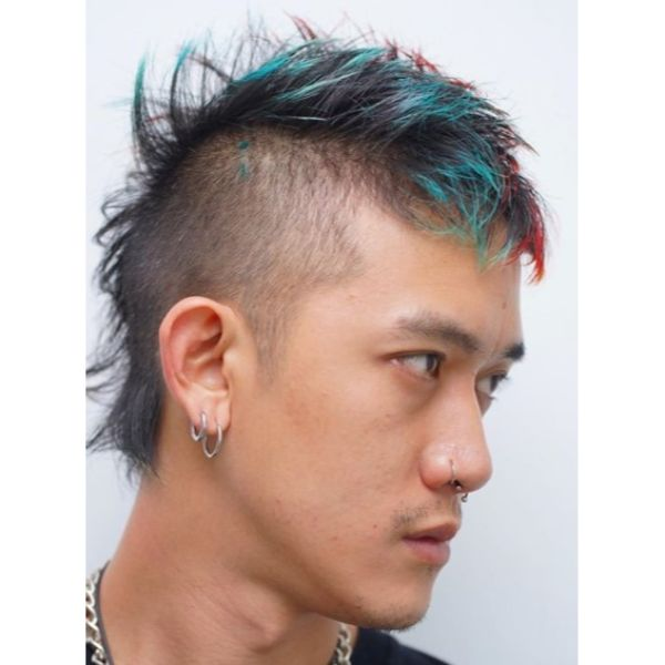 Multicolored Gohawk Hairstyles for Asian Men