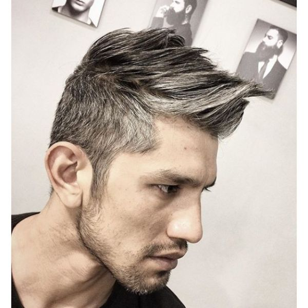 Natural Grey Taper Cut with Spiky Top