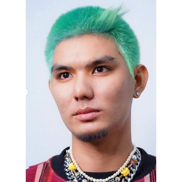Pastel Green Colored Buzz Cut with Long Front Piece