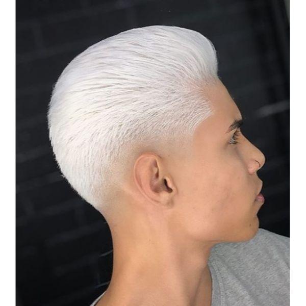 Platinum Blonde Modern Pompadour Short Sides Long Top Hairstyles