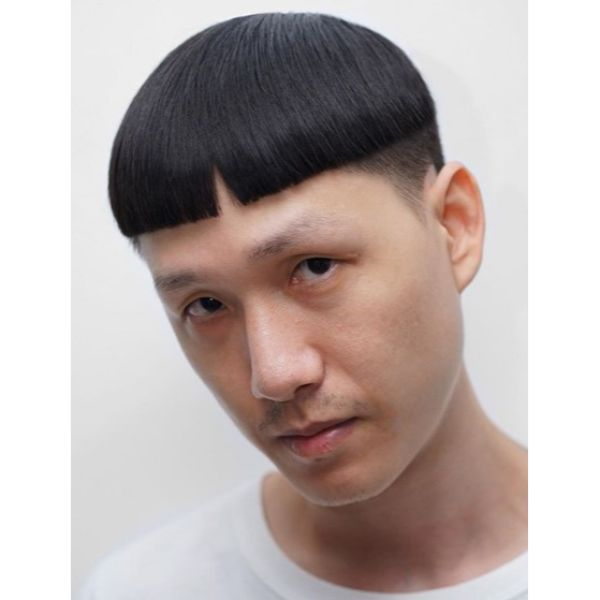 Punk Bowl Cut with Baby Bangs Hairstyles for Asian Men