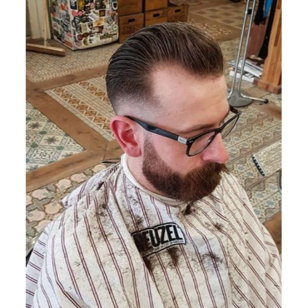 Razor Fade with Pompadour Top
