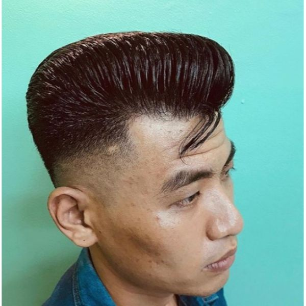 Razor Faded Pompadour Short Sides Long Top Hairstyles
