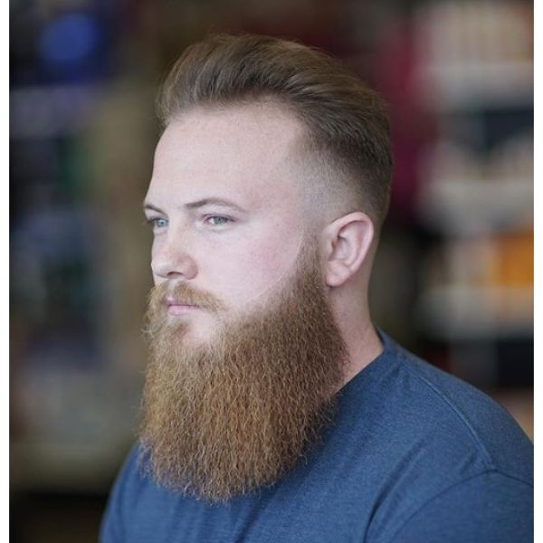 Sharp Fade Pompadour with Beard