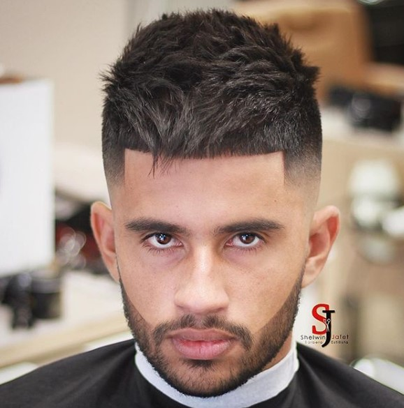 Sharp Fade with Combed Forward Long Spiky Top