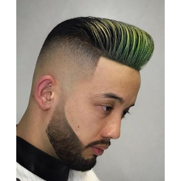 Sharp Fade with Highlighted Pompadour Short Sides Long Top Hairstyles