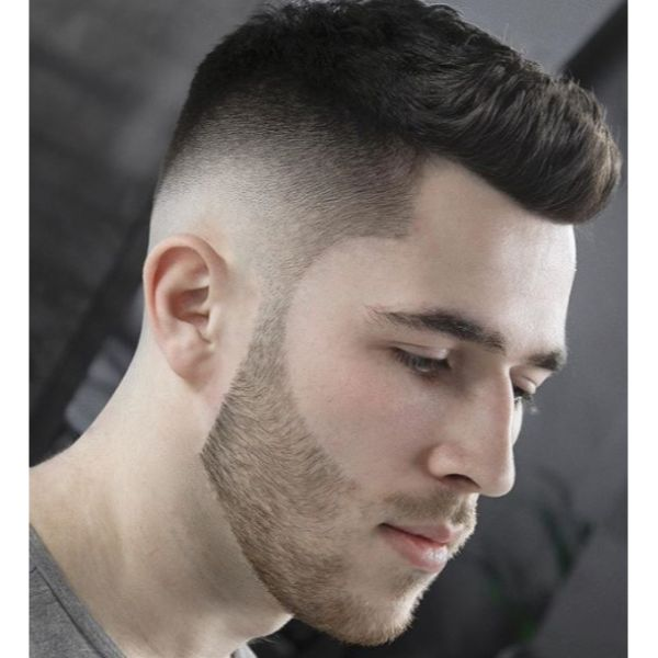 Sharp Mid Taper Fade with Combover and Stubby Beard