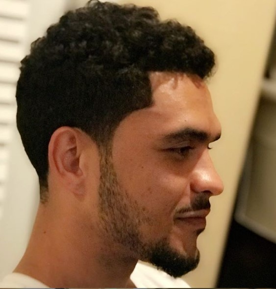 Sharp Taper Fade with Curly Top