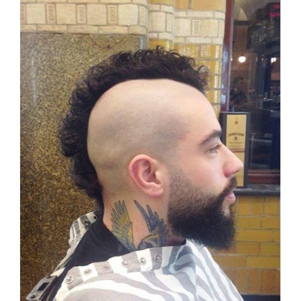 Shaved Short Sides with Long Mohawk Top Hairstyles