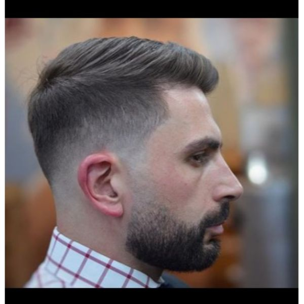 Side Combover Taper Fade with Beard
