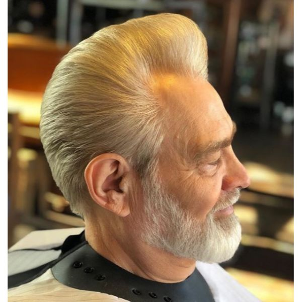 Silver Fox Pompadour Short Sides Long Top Hairstyles