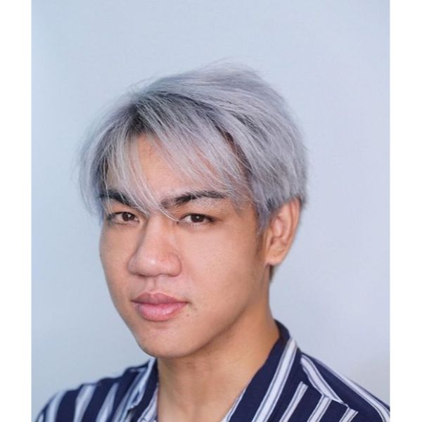 Silver Fox Taper Cut with Dark Roots
