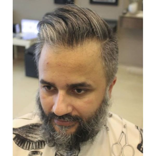 Silver Fox Textured Quiff Short On Sides Long on Top Hairstyles