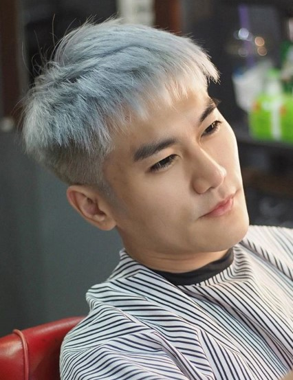 Silver Grey Colored Skin Fade with Long Top