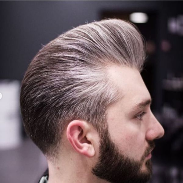 Silver Grey Pompadour Short Sides Long Top Hairstyles
