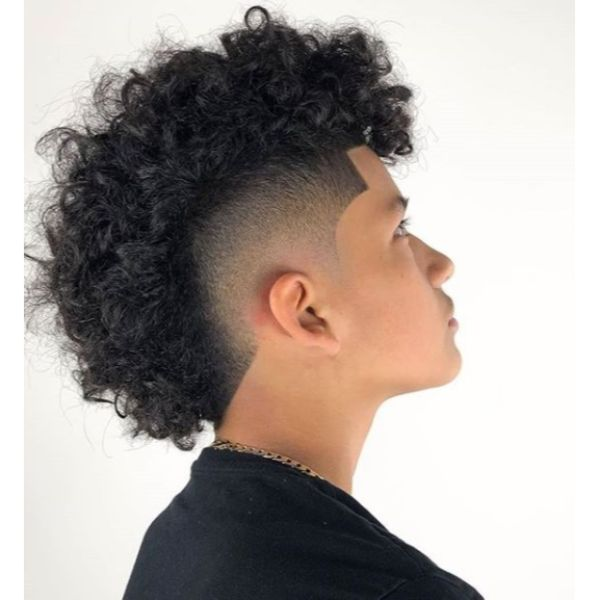 Skin Fade Curly Mohawk Short Sides Long Top Hairstyles