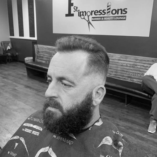 Skin Fade with Comb Over Widow Peak and Beard