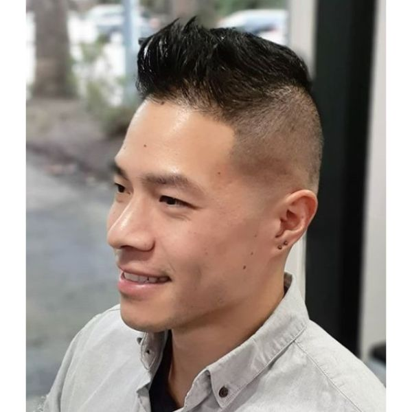 Skin Fade with Longer Top Combed Forward and Messy