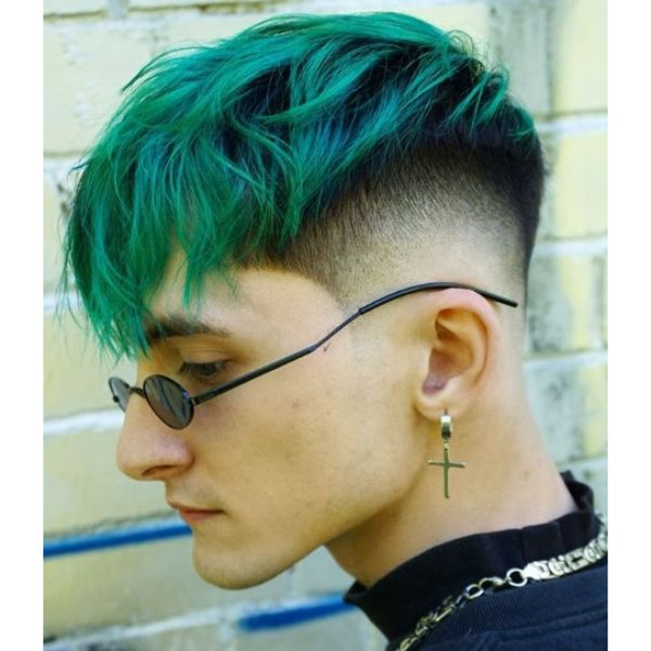 Skin Fade with Mermaid Green Shaggy Faux Hawk Short Sides Long Top Hairstyles