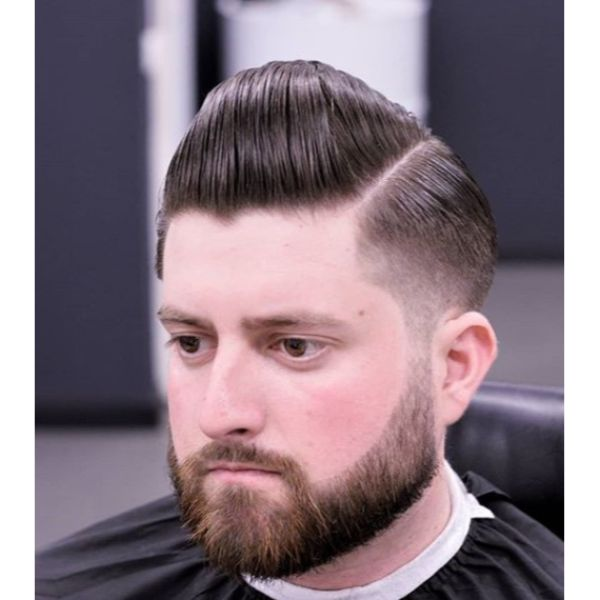 Slickback Taper with Side Part Short Sides Long Top Hairstyles