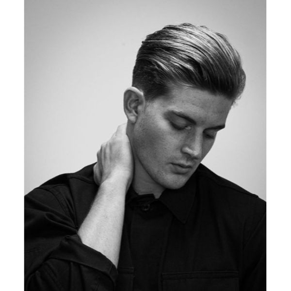 Slicked Back Classic Taper Fade Haircut
