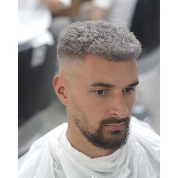 Steel Grey Flattop Hairstyle