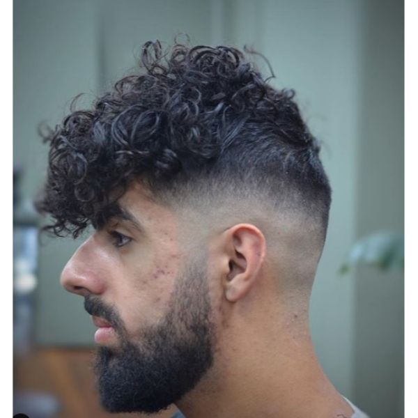Taper Fade with Curly Messy Top