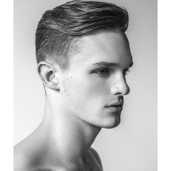 Taper Fade with Swoopy Smooth Layered Top