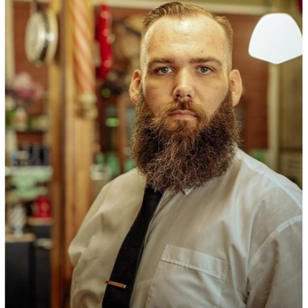 Taper Haircut with Massive Beard and Side Part