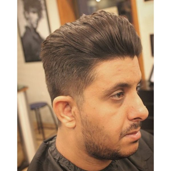 Textured Quiff Short Sides Long Top Hairstyle