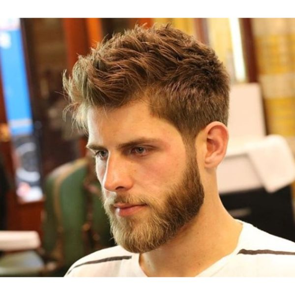 Textured Scissors Taper Fade Haircut with Beard