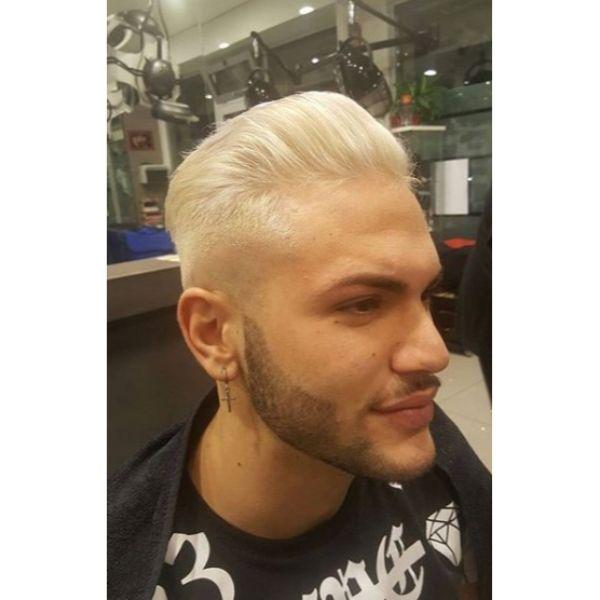 Totally White Taper Fade Haircut