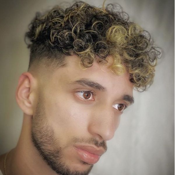 Two Colored Short Sides Long Curly Top
