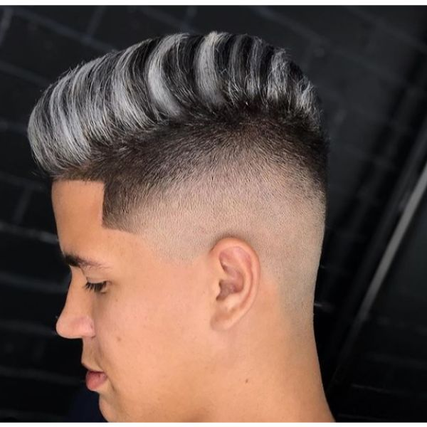 Two-colored Faux Hawk Short Sides Long Top Hairstyles
