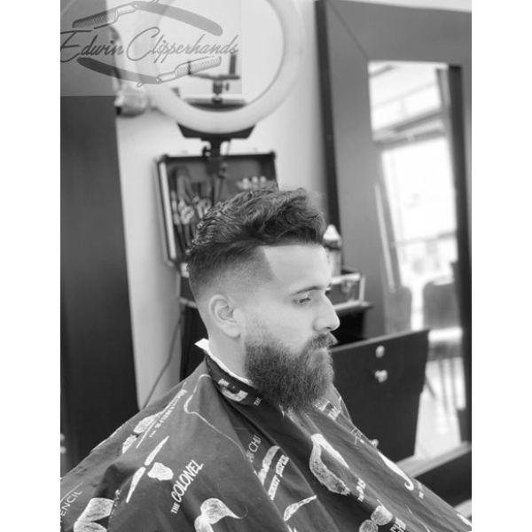Wavy Pompadour Short Sides Long Top Hairstyles