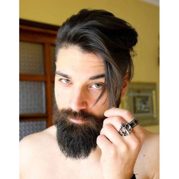 Angled Undercut with Thick Beard Hairstyle for Men
