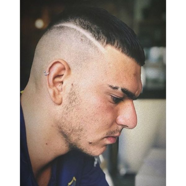 Bald Fade with Side Razor Line and Top Crop