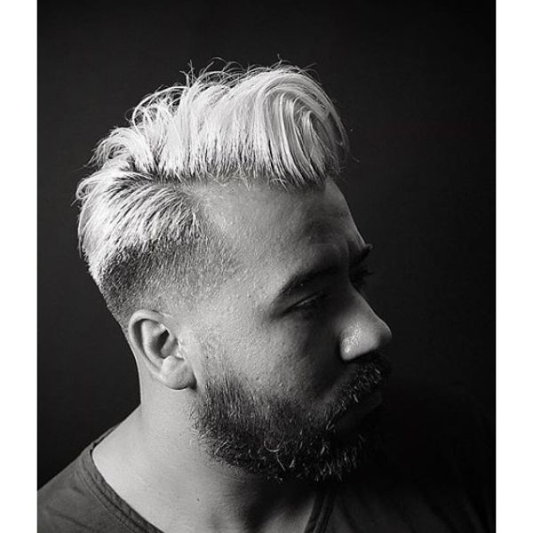 Bleached Blonde Undercut with Soft Side Part