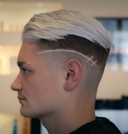 Blonde Colored Undercut with Razor Design Hairstyle For Men