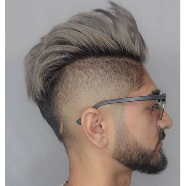 Blonde Faux Hawk with Dark Roots Undercut Hairstyles For Men