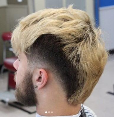 Blonde medium length hairstyles for men with Side Razor Design