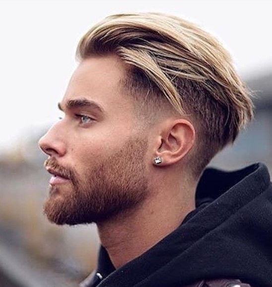 Blonde Textured Messy Undercut Hairstyle For Men
