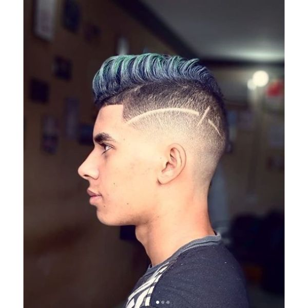 Blurry Fade with Blue Faux Hawk and Razor Side Line