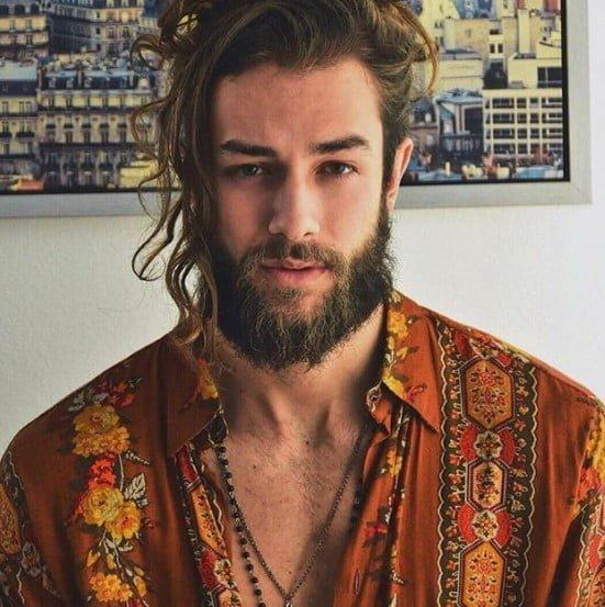 Boho Style medium length hairstyles for men