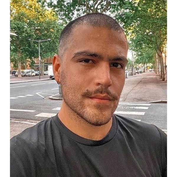 Buzz Cut With Stubby Beard And Mustache